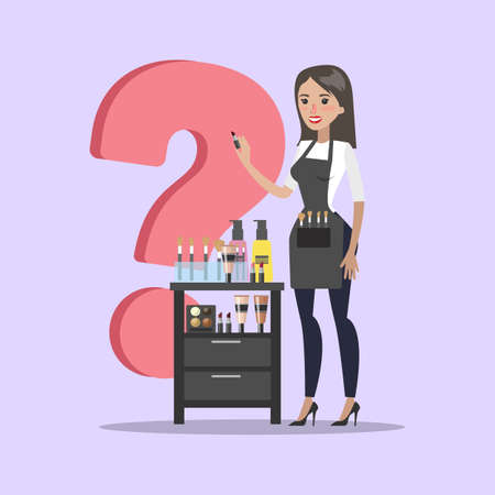 Isolated female makeup artist standing with question mark. Illustration
