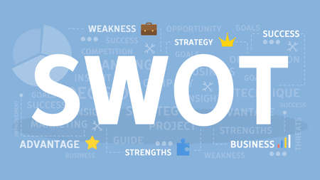 SWOT concept illustration. Idea of analysis and marketing.