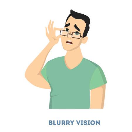 Man diabetes symptoms. Man with blurry vision.