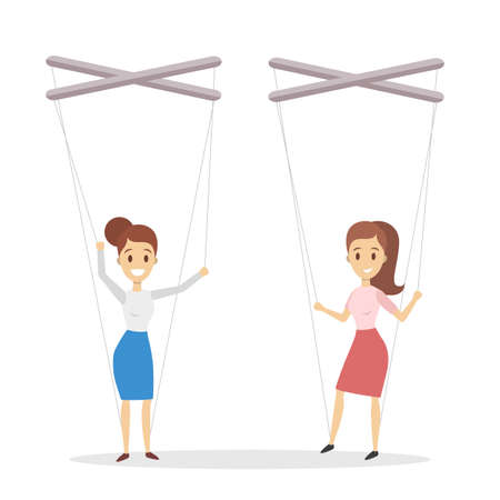Manipulation of employees. Hands holding puppet strings with women.