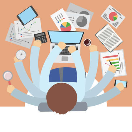 Businessman with many hands multitasking at office. Stock Vector - 99502372