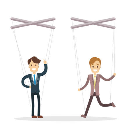 Manipulation of employees. Hands holding puppet strings with men.