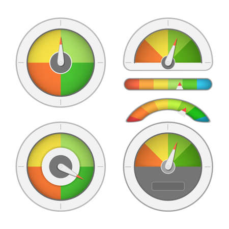 Gauge meter set with rainbow colors and indicator. Illustration