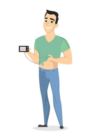 Man with diabetes. Vectores
