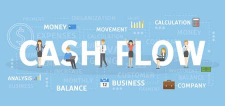 Ilustración del concepto de flujo de efectivo. Idea de negocio exitoso.