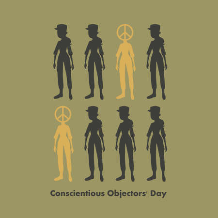 Conscientious objectors day greeting card. People against war.