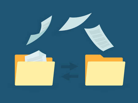 Transfer of documentation. Folders with paper files. Çizim