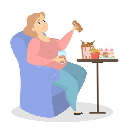 Fat woman eating burgers at home on white. Illustration