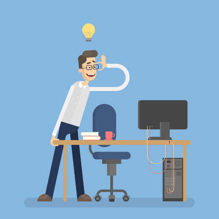 Isolated happy businessman with idea at office. Illustration