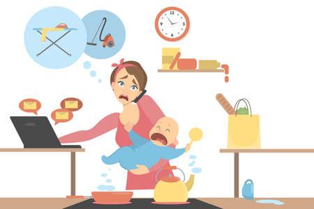 Geïsoleerde multitasking moeder. Vector illustratie