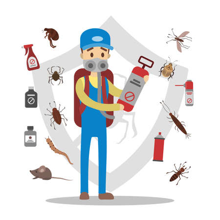 Pesticides and insects Vector illustration.