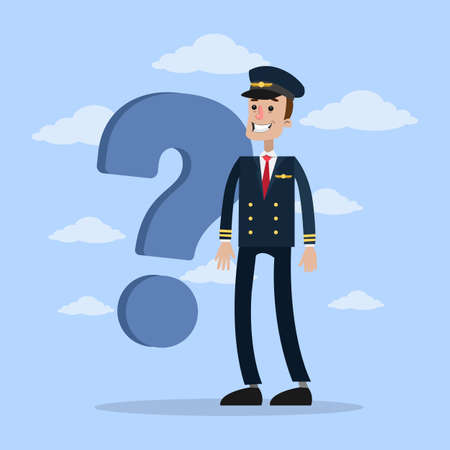 Isolated male pilot with question standing with clouds.