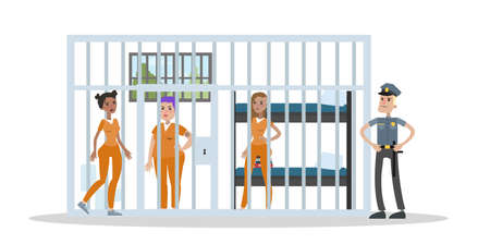 Female prison interior vector illustration.