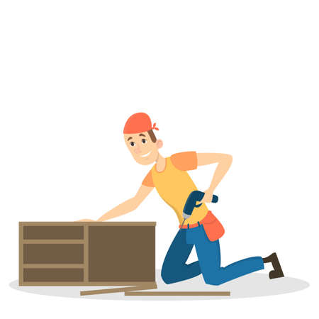 Isolated furniture assembly vector illustration.
