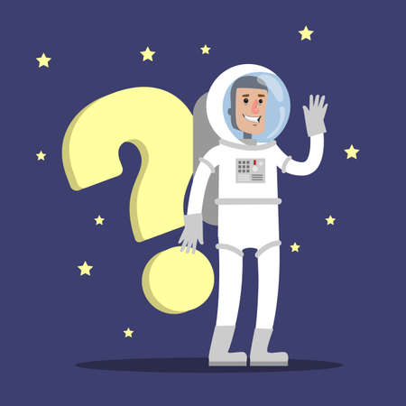 Astronaut with question Vector illustration.