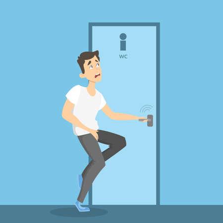 Man wants to pee vector illustration.