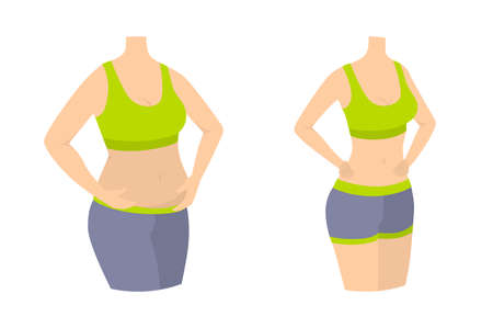 Woman slimming body. From fat to fit.