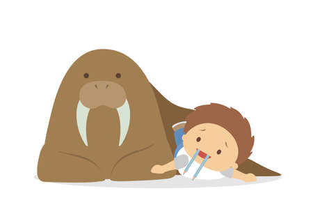 Cute babies playing with animals on white background. Ilustracja