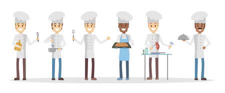 Cartoon chefs set.