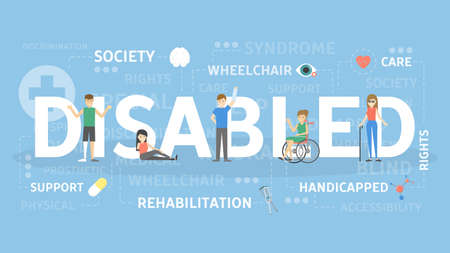 Disabled concept illustration. Idea of society and health.