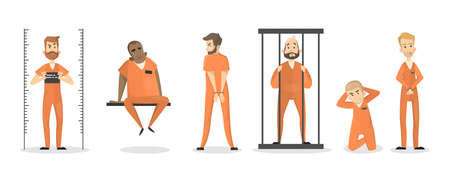 Isolated imprisoned people set in orange uniform.