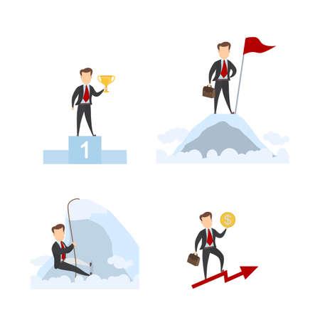 Successful businessman set. Illustration