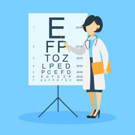 Isolated woman ophtalmologist. Illustration