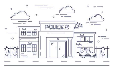 Polizeistationsgebäude. Vektorgrafik