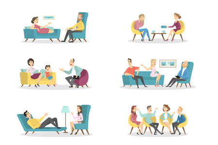 Psychologists with patients. Illustration