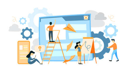 Site development illustration. Employees, ladder, gear and graph icons.