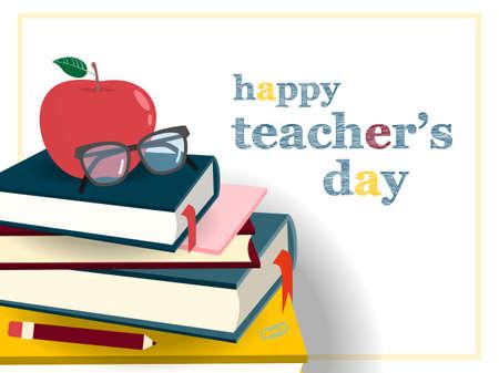 Journée des enseignants mis bannière avec icône pomme, lunettes et livres