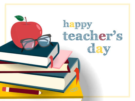 Teachers day set banner with apple, eye glasses and books icon.