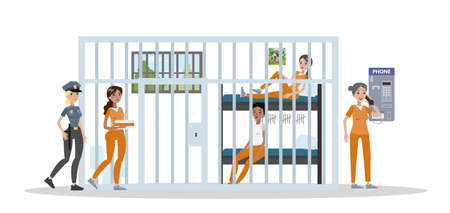 Female prison interior with payphone illustration.