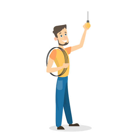 Isolated happy male electrician vector illustration.