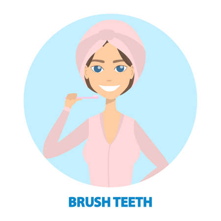 Woman getting ready to brush her teeth illustration.