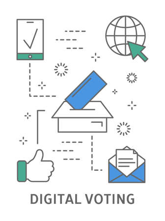Ilustración de votación digital. Ilustración de vector
