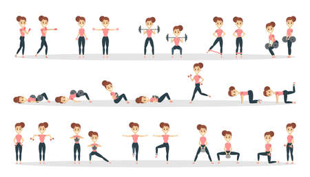 Fitness exercises set.