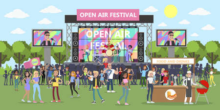 Open air festival with people and musicians. Иллюстрация