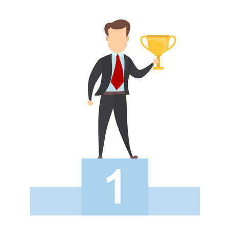 Successful businessman with trophy on pedestal on white.