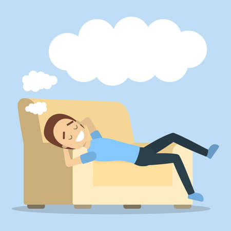 Woman relaxing and dreaming on the sofa. 矢量图像