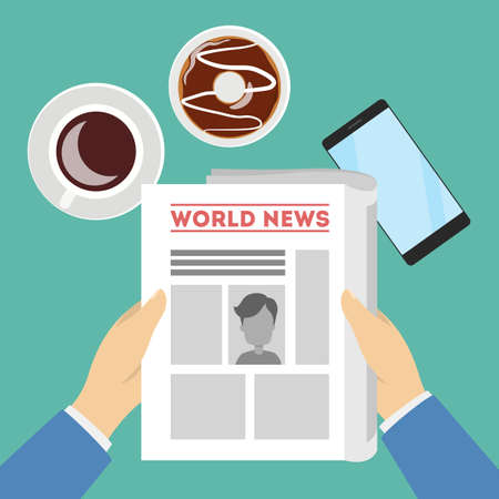 Man reading news holding paper in hands with coffee. Vettoriali