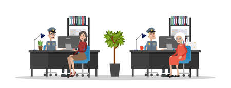Police station interior with cops and visitors. Standard-Bild - 100866948