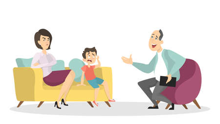 Psychologists with family patients on white background.