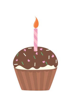 Isolated sweet tasty beautiful cupcake with decoration. Illustration