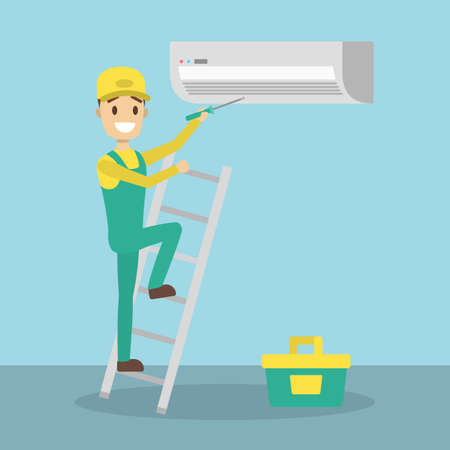 Repair of air conditioner. Man with work tools fixing and repairig. Illustration