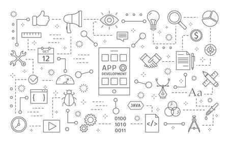 App development line icons set on white.