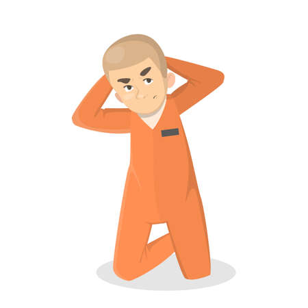 Isolated imprisoned man in orange uniform on white.. Illustration