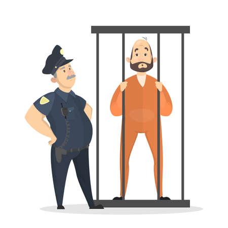 Isolated imprisoned man in orange uniform on white.. Standard-Bild - 101212202