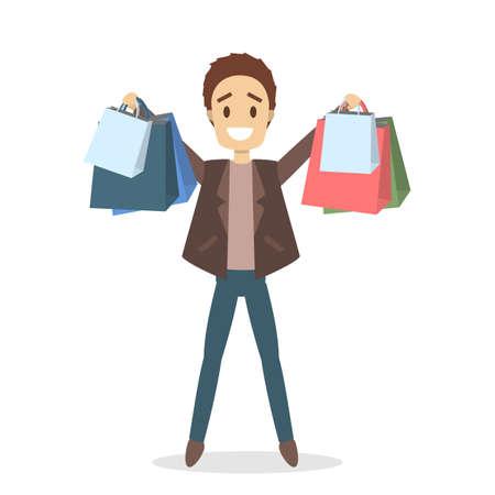 People shopping set. Illustration