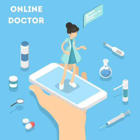 Online doctor on smartphone with medical equipment.